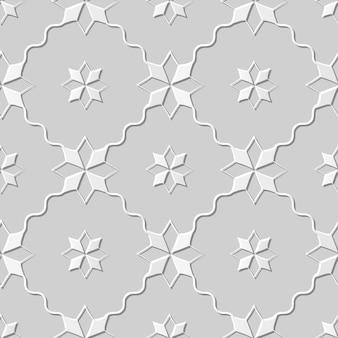 Arte em papel damasco 3d sem costura star cross wave line