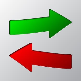 Arte em papel das setas vermelhas e verdes. ilustração.