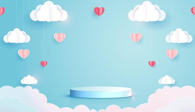 Arte em papel de amor e dia dos namorados com coração de papel e nuvem flutuando no pódio do céu azul