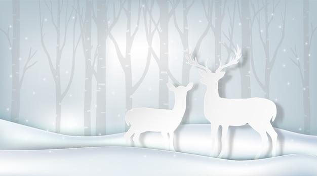 Arte em papel de casal veado e pinheiro, ilustração de inverno