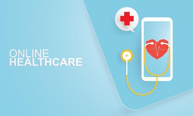 Arte em papel de consulta on-line com médico