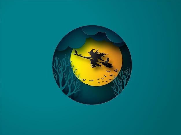 Arte em papel do feliz dia das bruxas, bruxa montando uma vassoura voando no céu em lua cheia