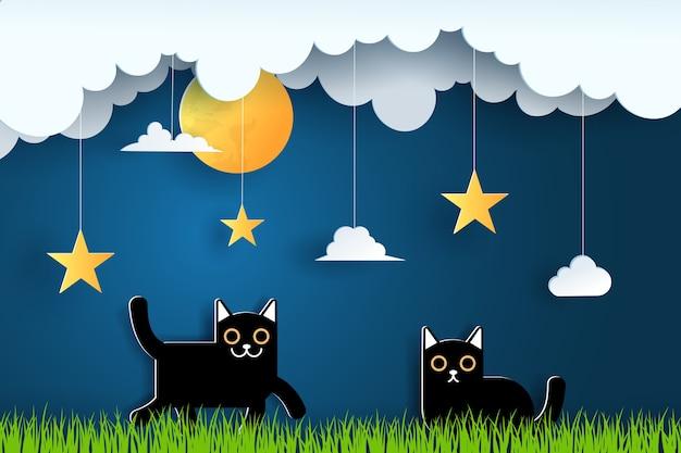 Arte em papel e paisagem, estilo de artesanato digital à noite com dois gatos pretos.