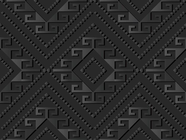 Arte em papel escuro verifique a linha de pontos cruzada em espiral de diamante, fundo de padrão de decoração elegante de vetor