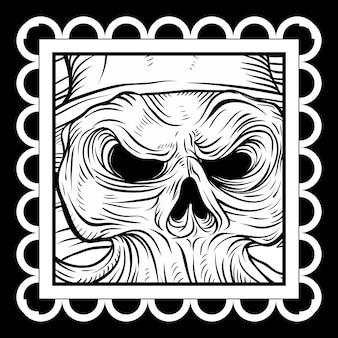 Arte-final do crânio estilo vintage, desenho à mão, isolado