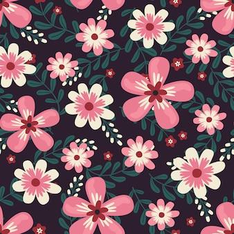 Arte-final floral para tecidos de vestuário e moda, estilo de hera de grinalda de flores cor de rosa com galhos e folhas. fundo de padrões sem emenda.