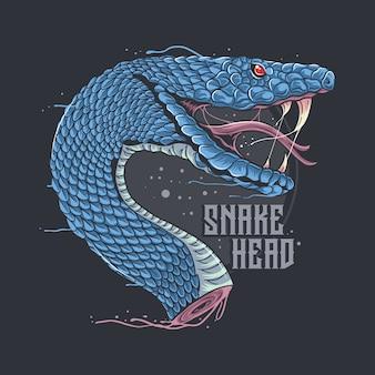 Arte finala de cabeça de cobra com camadas editáveis