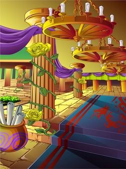 Arte finala de um salão em um castelo no estilo dos desenhos animados.