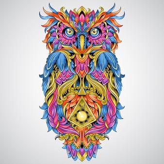 Arte finala do ornamento de detalhe da coruja para o vetor de tettoo e de elemento tribal da cor completa