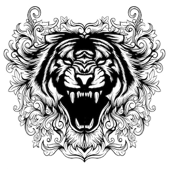 Arte floral da cabeça preto e branco do tigre