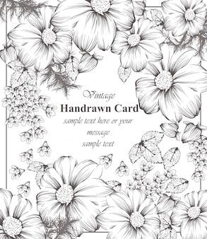 Arte floral da linha de cartão vintage