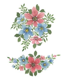 Arte floral em aquarela feita à mão