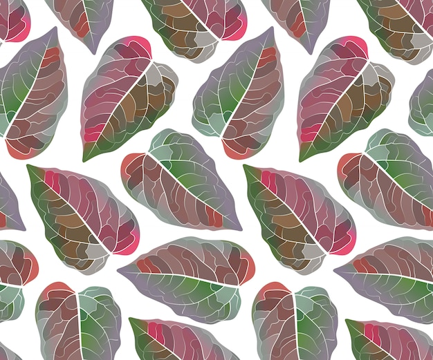 Arte floral padrão sem emenda. folhas coloridas, isoladas no fundo branco. padrão sem fim com folha vermelha e verde para papel de parede, tecido, têxtil para casa e cozinha.