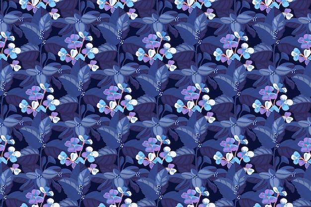 Arte floral padrão sem emenda. mattiola azul incana na folhagem azul de uma hortênsia. flores no jardim, caules, folhas isoladas em fundo azul profundo.