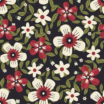 Arte floral para tecidos de vestuário e moda, flores de verão grinalda estilo hera com galho e folhas. fundo de padrões sem emenda.