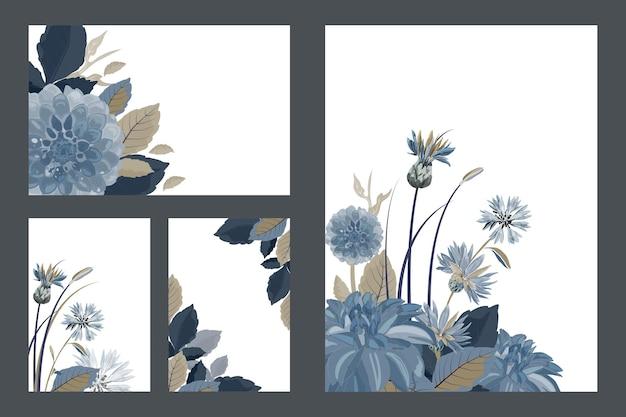 Arte floral saudação e cartões de visita. padrões com flores azuis, dálias, flores de cardos, folhas azuis, marrons. flores isoladas em um fundo branco.
