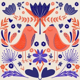 Arte folclórica escandinava padrão colorido com flores e pássaros