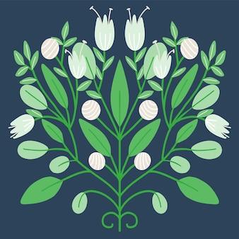 Arte folclórica ornamento floral ilustração de flores da primavera
