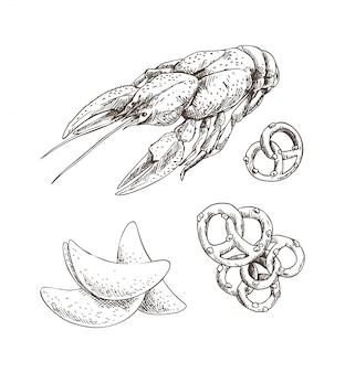 Arte gráfica de lagostins com batatas fritas e pretzel