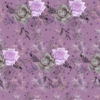 Arte gráfica em linha de flores e pequena flor roxa sem costura padrão