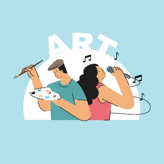 Arte homem e mulher ilustração