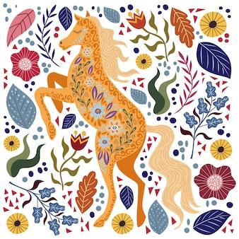 Arte ilustração colorida com belo cavalo folk abstrato e flores.