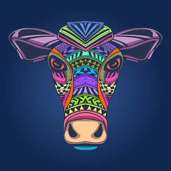 Arte, ilustração, de, vaca, rosto