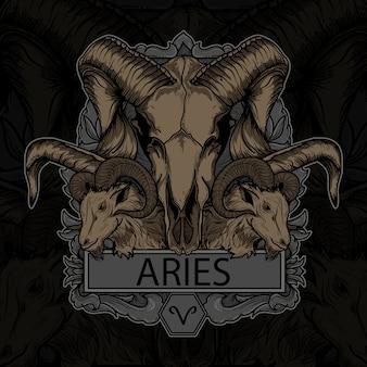 Arte ilustração e design de camiseta aries skull zodiac premium