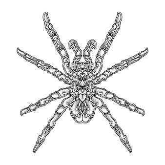 Arte ilustração e tshirt design aranha