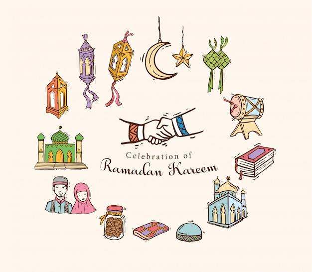 Arte islâmica doodle definida para ramadan kareem