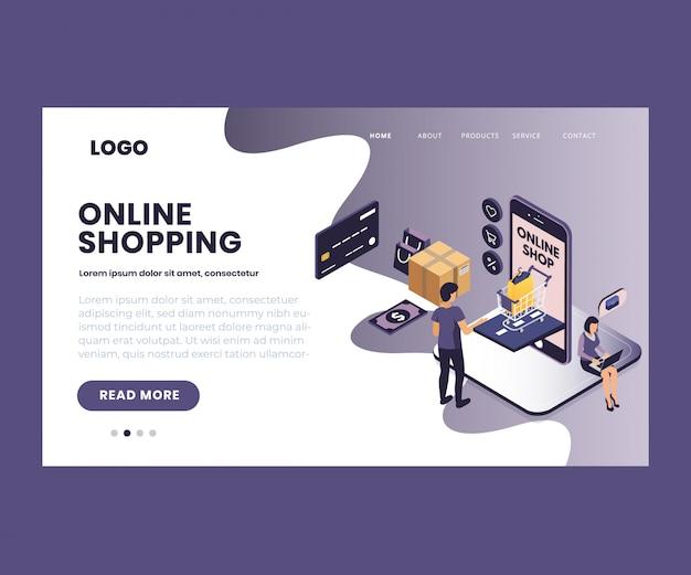 Arte isométrica de compras on-line por meio do aplicativo móvel