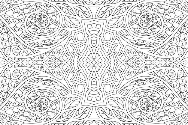 Arte linear para colorir livro com padrão abstrato