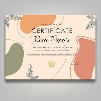 Arte linha flor fofa certificado retrô