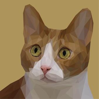 Arte lowpoly do gato adorável