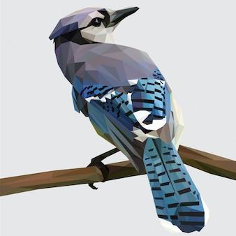 Arte lowpoly do pássaro azul