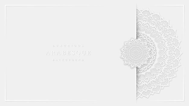 Arte luxuosa em arabescos em estilo de mandala branca limpa