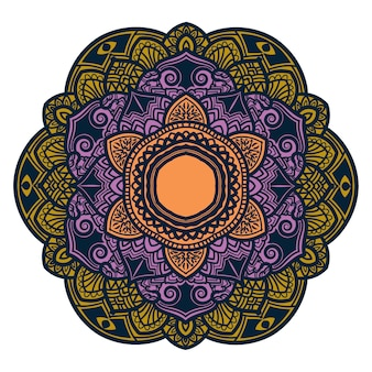 Arte mandala colorida com lindas flores e folhas