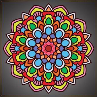 Arte mandala colorida vintage com motivos florais