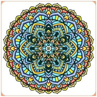 Arte mandala indiana colorida com motivos florais