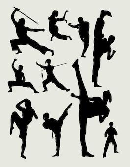 Arte marcial masculina e silhueta de ação de defesa