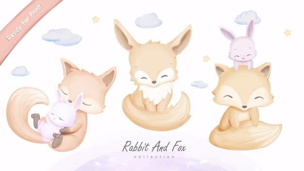 Arte na parede com ilustração de coelho e raposa animal fofo