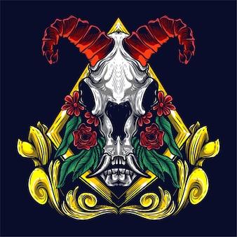 Arte ornamental de crânio de cabra