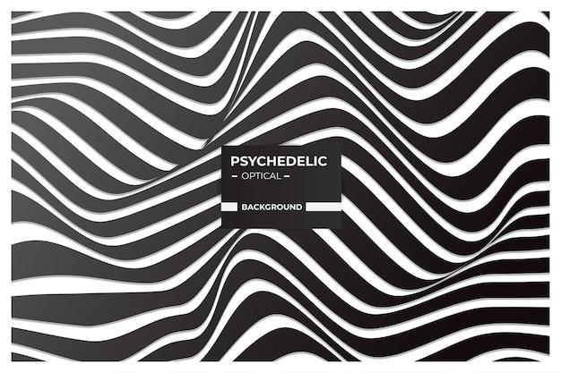 Arte ótica psicodélica, fundo abstrato em preto e branco com padrão de linhas onduladas