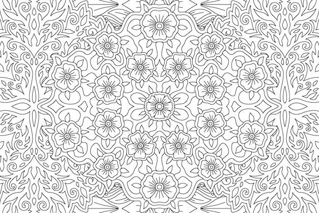 Arte para colorir livro com padrão floral linear
