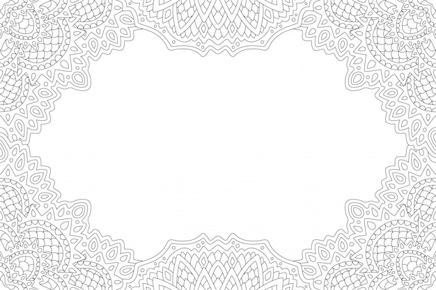 Arte para colorir página de livro com borda abstrata