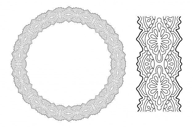 Arte para colorir página de livro com coroa de flores oriental