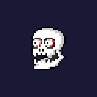 Arte pixel rindo cabeça de caveira com ícone de olhos.