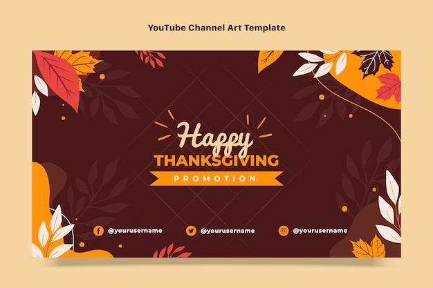 Arte plana do canal do youtube de ação de graças