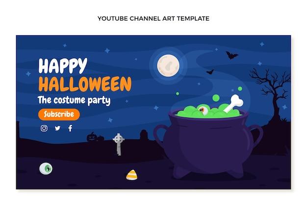 Arte plana do canal do youtube de halloween