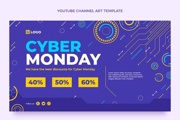 Arte plana do canal do youtube de segunda-feira cibernética